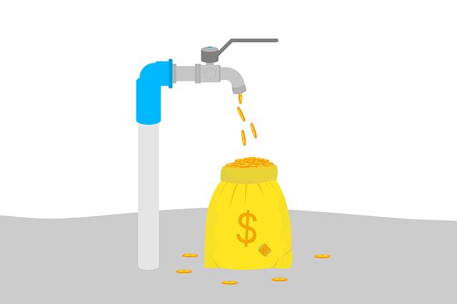 vodovod, kohoutek, pytel peněz